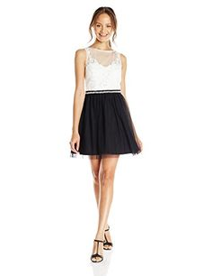 As U Wish Juniors White Illusion Neck Fit and Flare Party Dress Black 7 *** To view further for this item, visit the image link.
