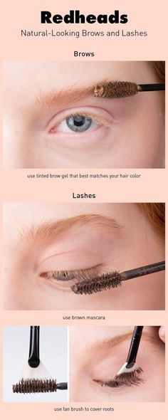 If your eyebrows and lashes are fair and you're looking to darken them, you can use a tinted brow gel and fan brush. #BuzzFeed #HowtobeaRedhead