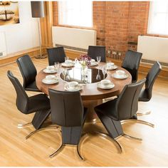 d1bf5b753624 Luxury Large Round Walnut Dining Table lazy susan +8 z chairs 3104 blk
