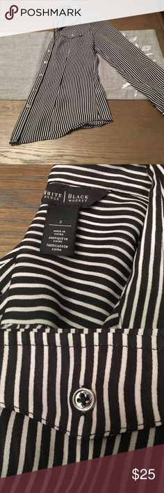 Classic black and white striped 👚 Great condition button up blouse. White House Black Market Tops Button Down Shirts