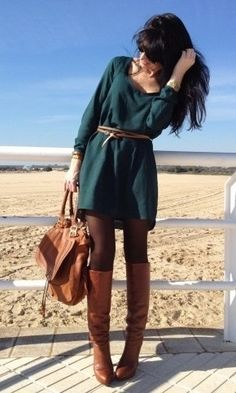 Teal long sleeve sweater dress, brown boots, camel bag, dark brown leather belt