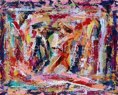 """In this painting, it's all about what you focus on, thereby highlighting what you see. As an artist I relate to this concept immensely! """"Perception doesn't reveal reality. It creates it - yours."""" Multicolored abstract, two chassidim dancing painting."""