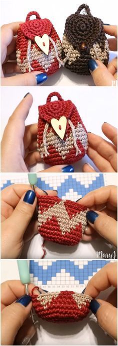 Crochet Purses Ideas Crochet Tapestry Mini Backpack Purse - We've already presented you some easy and helpful tutorials on how to make mini backpack purses. Now, it's time to move on and test our skills in tapestry. Bag Crochet, Crochet Shell Stitch, Crochet Amigurumi, Crochet Handbags, Crochet Purses, Love Crochet, Crochet Gifts, Crochet Dolls, Crochet Stitches