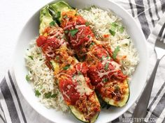Italian Sausage Stuffed Zucchini is a simple, flavorful, and lighter alternative to lasagna. Step by step photos.