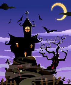 Black Silhouette Castle Background Halloween Backdrops For Baby Shower