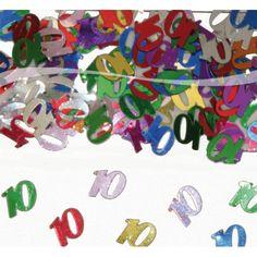 Confetti 10 in verschillende kleuren. De inhoud van dit zakje 10 confetti is ongeveer 15 gram. Versier uw feest met deze gekleurde 10 confetti. Bestel uw gekleurde 10 confetti in kleine of grote aantallen.