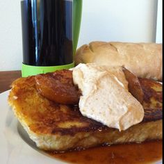 French Toast with Angostura Bitters Apple Butterscotch and Yogurt Maple Syrup Peanut Butter.