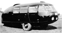 "Buckminster Fuller's Dymaxion Car. The word ""Dymaxion"" was coined by combining parts of three of Bucky's favorite words: DY (dynamic), MAX (maximum), and ION (tension)."