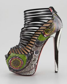 Louboutin - Zoulou Python Strappy Platform Red Sole Sandal ...brightly dyed python