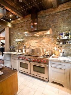 Stone wall, beams.  South Shore Decorating Blog: 50 Favorites for Friday (#59)