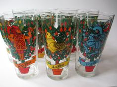 Eleven Days of #Christmas Holiday Glass #Tumblers  Set by jenscloset, $48.50 #Etsy #teamsellit