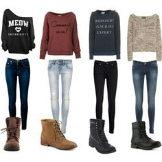 Casual, comfy and efortless outfits. Perfect for school!