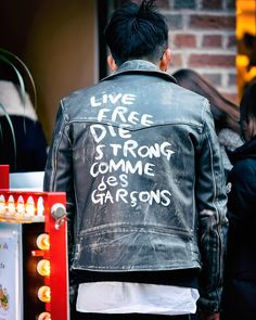 Comme Des Garcons leather jacket spotted on the street in Harajuku.