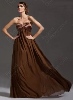 Wholesale - Empire Sweetheart Chiffon Floor-length Brown Criss Cross Prom Dress