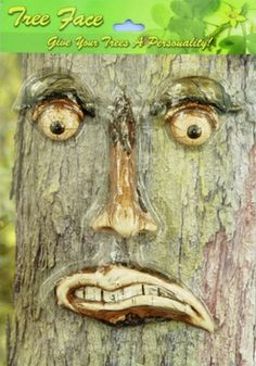 """Grrr.... You better behave because our Angry Tree Face has his eyes all over you and your garden visitors!    This tree decoration is hysterical and so much fun! Get ready to surprise your friends and bring your garden to life!    Also, really funny next to """"Curb your Dog"""" signs by the front lawn.    Comes in four separate pieces to be spaced accordingly on any size tree. (We think these look best when the trees are at least 8 inches wide.)"""