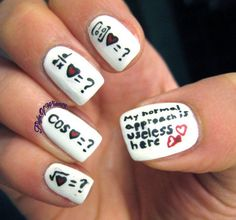 Inspiration on Useless (xkcd comic) by Eva Klinman. Check out more Nails on Bellashoot. Love Nails, How To Do Nails, Pretty Nails, My Nails, School Nail Art, Back To School Nails, Cute Nail Art, Cool Nail Designs, Nail Polish Colors