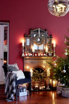 Holiday Interiors In The Work Of Brent Darby Magical Christmas, Christmas Mood, Christmas Themes, Christmas Decorations, Best Home Interior Design, Shades Of Red, Home Goods, Mantles, Interiors