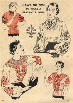 Christine's Page 1930 ethnic bohemian blouse shirt top embroidered short puff sleeves long sleeves ruching gathers peasant war era art illustration vintage fashion style pattern print ad 1930s Fashion, Retro Fashion, Vintage Fashion, Bohemian Fashion, Victorian Fashion, Fashion Fashion, Fashion Tips, Vintage Sewing Patterns, Clothing Patterns