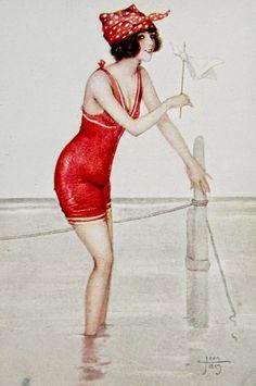 postcardiva postcard blog: Artist Signed BATHING BEAUTY Belle Postcards