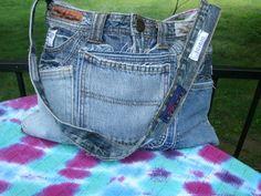 Medium Up Cycled Jeans Bag of Many Pockets