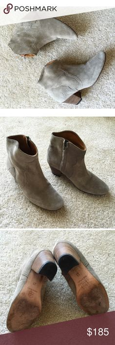 Isabel Marant Booties (Suede) 😍 Isabel Marant Suede Tan Booties✨ Size 37 (U.S. 7) Made in France. I bought these beauties last year during fall/winter at Barney's NY, they retail for $895, approximate heel height is 2 1/2 inches, they are in good condition, they do show signs of regular wear, they have been worn about three times max, they smell like leather and have no tears! Shoes do not come with box. These are perfect for winter❄️and fall🍂.All things from my closet come from a smoke…