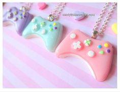 Kawaii polymer clay charmed xbox necklace