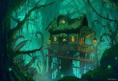 Swamp Cottage by Zanariya forest jungle tree house landscape location environment architecture Jungle Tree, Jungle House, Fantasy Art Landscapes, Fantasy Landscape, Fantasy Trees, Environment Concept Art, Environment Design, Fantasy House, Fantasy World