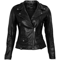 Viparo Womens Black Umi Jacket ($469) ❤ liked on Polyvore featuring outerwear, jackets, leather jackets, real leather jackets, lined leather jacket, 100 leather jacket and fleece-lined jackets