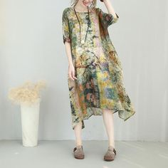 Abstract Prints Asymmetric Comfortable Silk Linen Dress Plus Size Elegant Dress #dress #customized #silklinen #dress #plussize #elegant