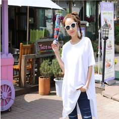 Summer female clothing brief solid color medium-long loose casual T-shirt short-sleeve free shipping #Affiliate
