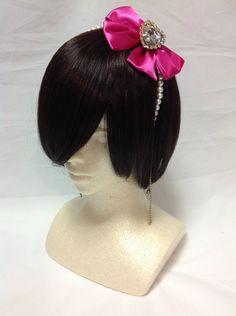 Jewel Rhinestone Heart Pearl Headbow in Pink x Ivory - Lolita Desu Bright Pink, Ivory, Bows, Drop Earrings, Jewels, Heart, Accessories, Beautiful, Fashion