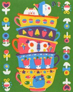 Girl and cat teacups - Sue Jean Ko American Illustration, Cute Illustration, Kids Prints, Art Prints, Teacup Cats, Drawing Activities, Print Patterns, Pattern Art, Pattern Design