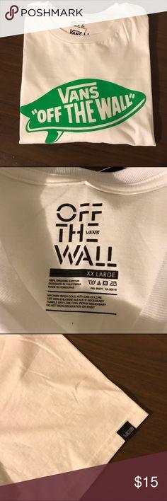 Men's Vans XXL T-Shirt Men's XXL Vans T-Shirt.  White with green Vans logo on front of shirt Vans Shirts Tees - Short Sleeve