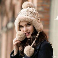 e81e6df2a63 Rabbit Fur knit hat with ear flaps for women warm pom pom winter hats