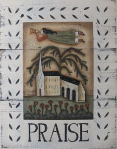 LOUANGE, un ange rustique folk art & Eglise imprimer signé par Donna Atkins
