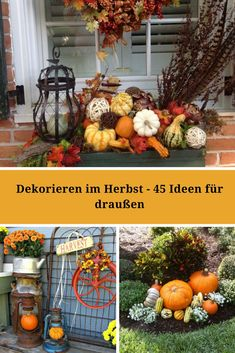 Autumn is already on the doorstep! The entrance area and veranda are ideal for d… – dekoration eingang - Decoration Fall Swags, Halloween Decorations, Table Decorations, Door Steps, Fall Decor, Autumn Decorating, Entrance, Garden Design, Diy Crafts
