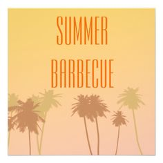 Summer barbecue invite with faded dusky sunset graphics, perfect for those summer gatherings.