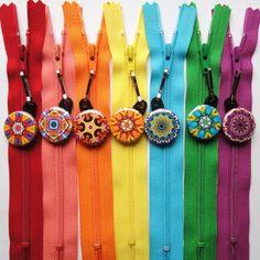 25 Assorted Kaleidoscope Zipper Pulls NEW DESIGNS - Pinwheel Collection. $21.25, via Etsy.