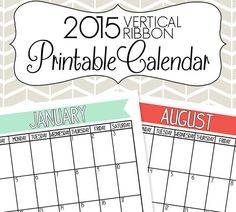 2015 Vertical Calendar Printable Colorful Ribbons by SimplyBrenna, $5.00