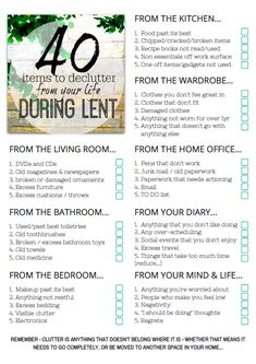 Take the Lent challenge and declutter your home in 40 days with this amazing list of items to declutter during Lent. Be clutter free by Easter with these decluttering ideas. 1 a day - are you ready to be clutter free? Let's get started... #declutteryourhome