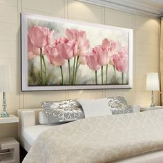 Compare Discount Full Diamond Painting Pink Tulips Diy Diamond Embroidery Flower Series Decoration For The Living Room A Good Gift For The Family Tulip Painting, Diy Painting, Bedroom Decor, Wall Decor, Diamond Paint, Pink Tulips, Colorful Paintings, Flower Art, Canvas Wall Art