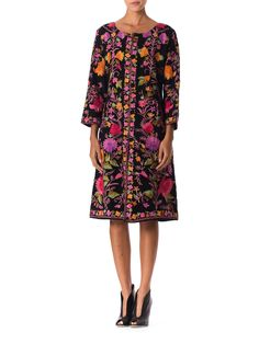 1990s Beautiful Wool Coat Covered in Indian Silk Embroidery