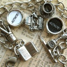 Author Author Writers Charm Bracelet Literary Jewelry Book Writer Theme
