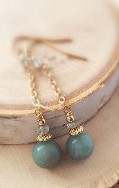 Seascape! Amazonite and Aventurine 14k Gold Fill Dangle Earrings Belle Bijou Atelier