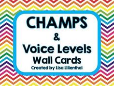 These chevron wall cards are a great supplement to the CHAMPS program for behavior expectations and classroom management.