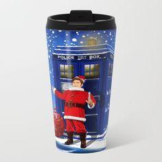 10th Doctor who Santa claus METAL TRAVEL MUG #metal #mug #travelmug #10th #drawing #acrylic #comic #cartoon #illustration #christmas #newyear #tardisdoctorwho #doctorwho #tardis #timelord #badwolf #drwho #timetravel #scifi
