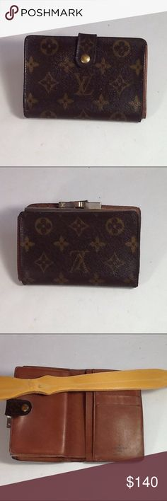 Authentic Louis Vuitton Porte Monaire Brown Wallet The leather showed wearing inside the wallet. The canvas showed wearing on the corners due to folding. The wallet was made in the USA with a date code 80919. The dimension is 5, 3.5 and 1. Louis Vuitton Accessories