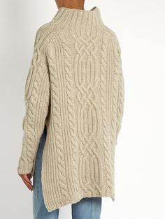 Side-split cable-knit wool sweater | Raey | MATCHESFASHION.COM