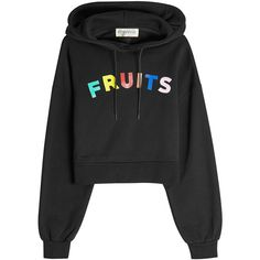 être cécile Fruits Cotton Hoodie ($140) ❤ liked on Polyvore featuring tops, hoodies, black, hooded pullover, hoodie top, drawstring top, hooded sweatshirt and cotton hoodies