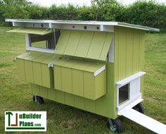 """The City Biddy Double WIDE Poultry Coop - building plans This coop has everything you need and more! How about a chicken coop that is attractive, easy to maintain, and is just the right size to house your small flock of backyard chickens, a hatchery """"Eggs & Meat"""" special or even a few turkeys? What if that coop could be used as either a stationary hen house or a mobile pastured poultry ark? (You could make full use of free range forages!) Then, what if I told you the coop could be easily…"""